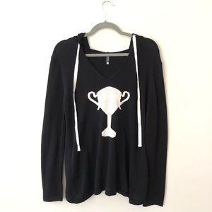 NEW Trina Turk Sweater hoodie Intarsia trophy M